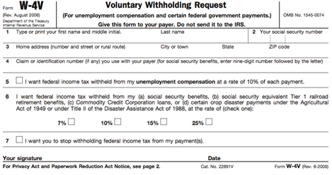 W-4V Voluntary Withholding Request.fw