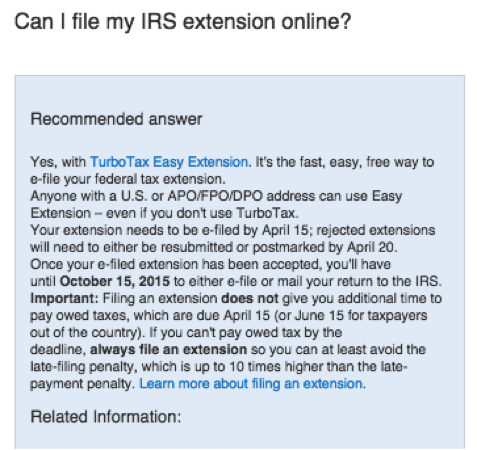 File a tax extension with TurboTax 2015 - 6