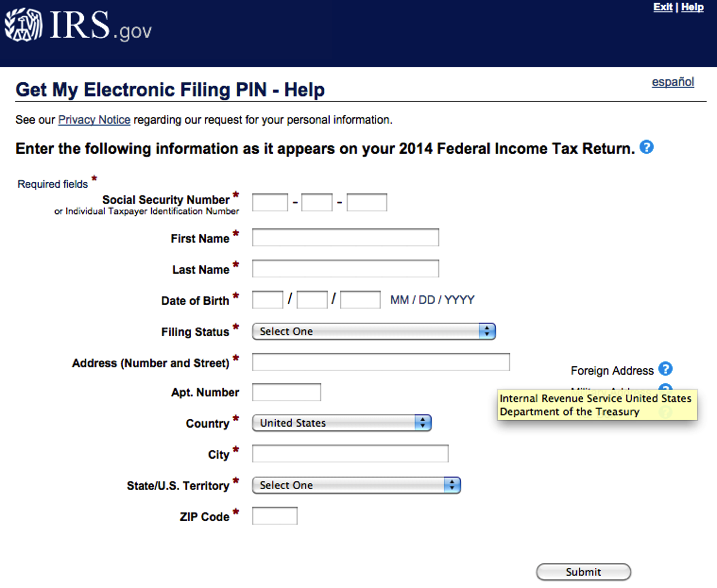 irs electrinic filing pin