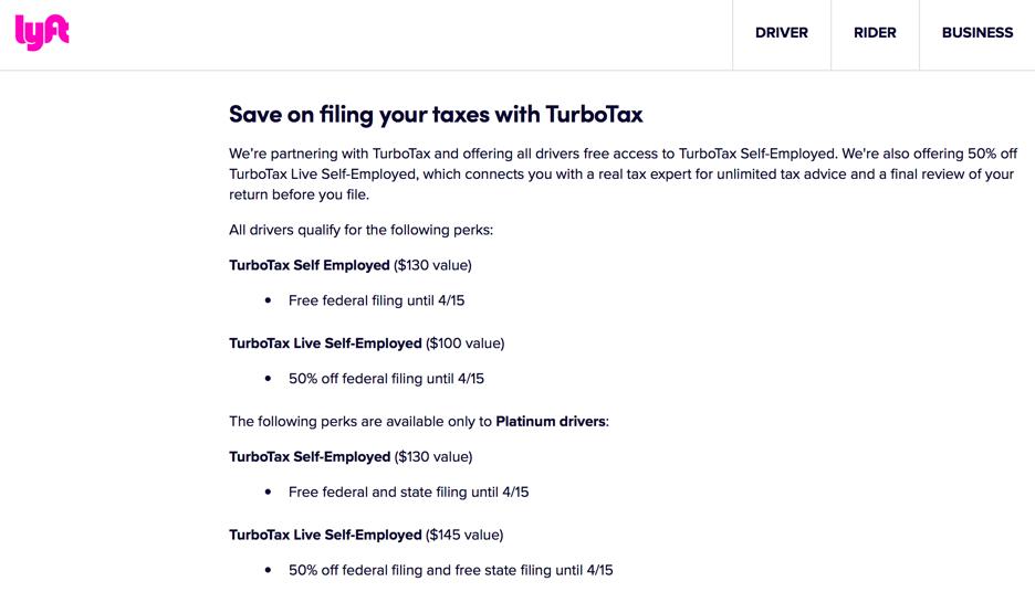 TurboTax Lyft Discount 2021